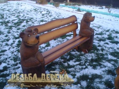 Скамейка с мишками для Крюковского лесопарка.
