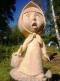деревянная садовая скульптура машенька | Садовая деревянная скульптура