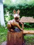 деревянные фигурки животных и птиц заяц | Садовая деревянная скульптура