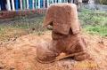 Скульптура из дерева - сапог | Резьба бензопилой - Скульптура из дерева