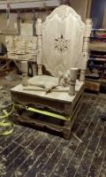 Трон в процессе изготовления | Садовая деревянная скульптура