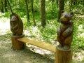 Парковая деревянная скамейка со скульптурами | Парковая скульптура