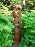 деревянная фигурка птичья кормушка | Садовая деревянная скульптура