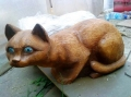 деревянная фигурка кошка | Садовая деревянная скульптура