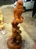 деревянные фигурки животных и птиц филин и заяц | Садовая деревянная скульптура