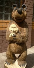 Маша и медведь. Скульптура из дерева | Детские городки