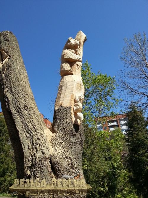 Резные скульптуры в Пензенском зоопарке