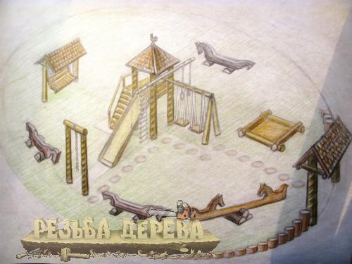 Эскиз модели детского городка из дерева