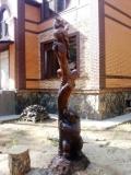 деревянная фигурка медвежонок и сова | Садовая деревянная скульптура