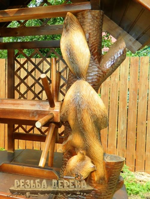 Скульптура белочки на колодце