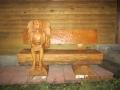 Скамейка из дерева с пассажиром | Мебель для парка, дачи и сада из дерева