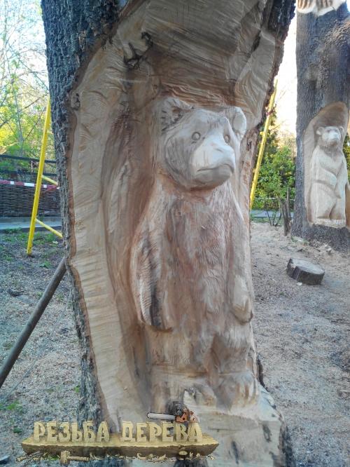 Скульптура в дереве в Пензенском зоопарке