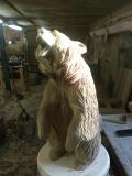 Ревущий медведь из дерева | Садовая деревянная скульптура