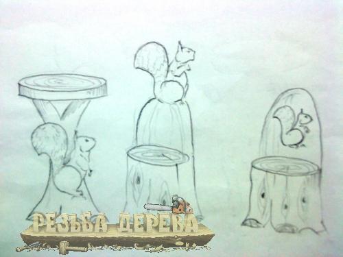 Эскизы стульев и столика для резьбы по дереву