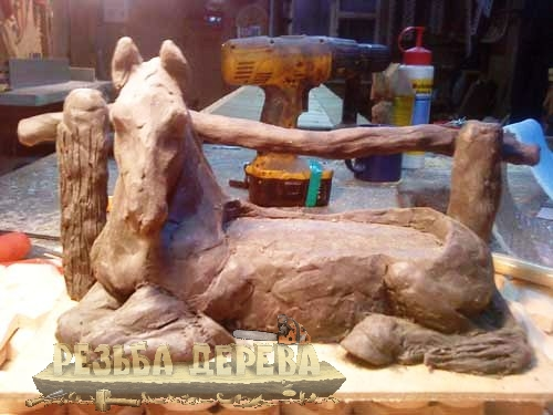 Лепная модель коня