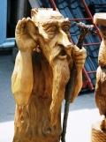 деревянная фигурка леший с посохом | Садовая деревянная скульптура