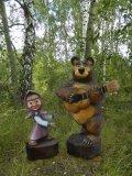 Маша и Медведь - скульптуры из дерева | Персонажи сказок и мультиков