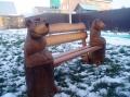 Скамейка со скульптурами | Мебель для парка, дачи и сада из дерева