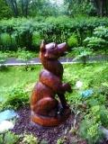 деревянные фигурки животных и птиц собака | Садовая деревянная скульптура