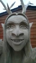 Деревянная садовая скульптура кикимора | Садовая деревянная скульптура