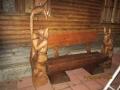 Деревянная скамейка с резными сказочными скульптурами | Мебель для парка, дачи и сада из дерева