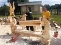 Сборка деревянной скамейки | Резьба бензопилой - фестивали, запиловки