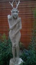 Деревянная садовая скульптура сказочный персонаж кикимора болотная | Садовая деревянная скульптура