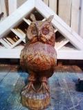 деревянные фигурки животных и птиц сова из дерева | Садовая деревянная скульптура