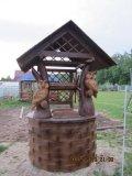 Колодезный домик с совами из дерева | Колодезный домик