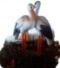 деревянные фигурки животных и птиц аисты в гнезде | Садовая деревянная скульптура