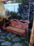 Подвесная резная скамейка для сада | Мебель для парка, дачи и сада из дерева
