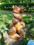 садовая фигура из дерева собака | Садовая деревянная скульптура