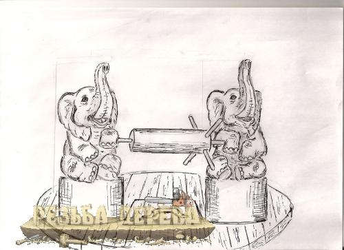 Рисунок деревянных скульптур для резного колодца