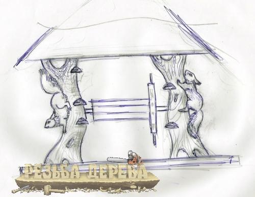 Эскиз резного колодца