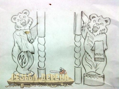 Рисунки забежных столбов для лестницы перед баней.