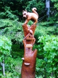 деревянные фигурки животных и птиц котенок | Садовая деревянная скульптура