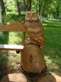 садовая фигура из дерева филин на пеньке | Садовая деревянная скульптура