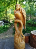садовая фигура из дерева птица сирин | Садовая деревянная скульптура