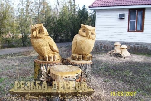 Скульптура из дерева - совы