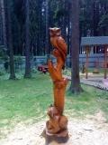 Птицы-звери из оставшегося ствола на корню | Скульптура на корню